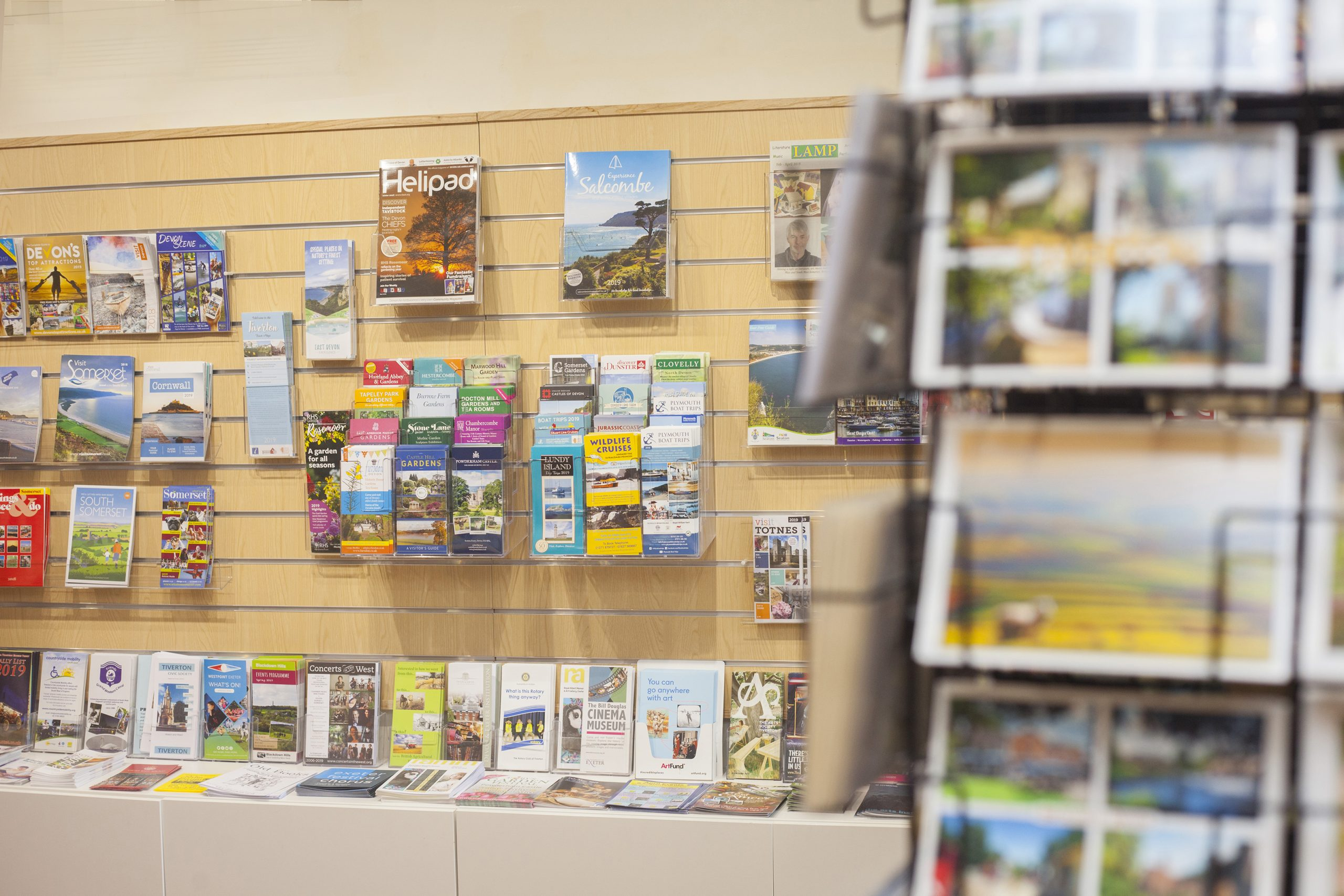 A display of tourist information leaflets