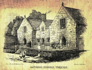 An illustration of an old building with the words National Schools