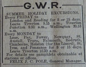 An advert for GWR from 1921